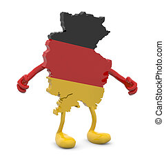 germany map with arms and legs cartoon