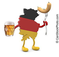 germany map with arms, legs and glass mug of beer and...