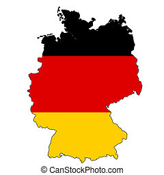 Germany map with color of their flag