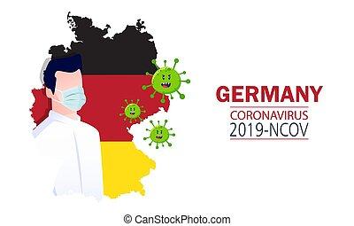 Germany Map with corona virus Symbol, (2019-nCoV), vector illustration.