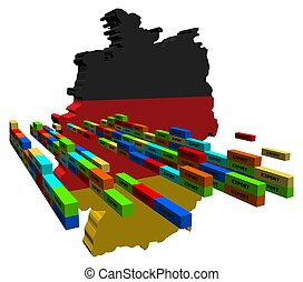 Germany map with export containers