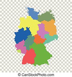 Germany map with federal states. Flat vector