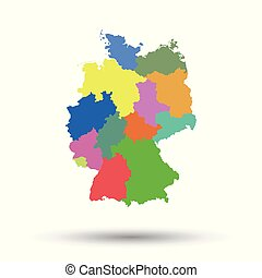 Germany map with federal states icon. Flat vector...