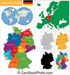 Germany map with regions and main cities