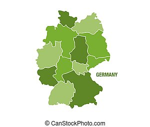 Germany map with regions - Vector illustration of a green...