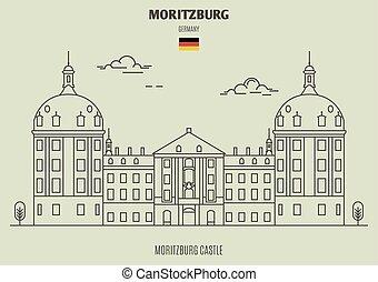 germany., moritzburg, repère, château, moritzburg, icône
