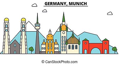 Germany, Munich. City skyline architecture, buildings, streets, silhouette, landscape, panorama, landmarks. Editable strokes. Flat design line vector illustration concept. Isolated icons set