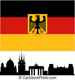 Germany - National Flag and the outline of buildings and...