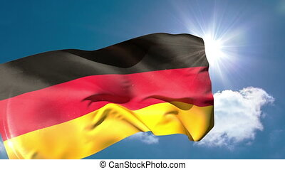 Germany national flag blowing in th
