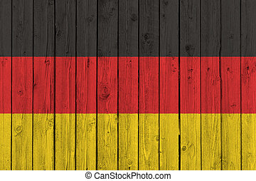 Germany national flag on old wood background