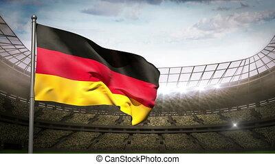 Germany national flag waving on sta