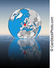 Germany on globe in water