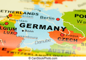 Germany on map - Close up of Germany on map