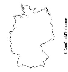 Germany outline map with shadow. Detailed, Mercator...