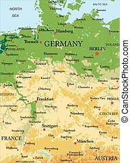 Germany physical map - Highly detailed physical map of...