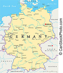 Germany Political Map with capital Berlin, national borders, most important cities, rivers and lakes. English labeling and scaling. Illustration.
