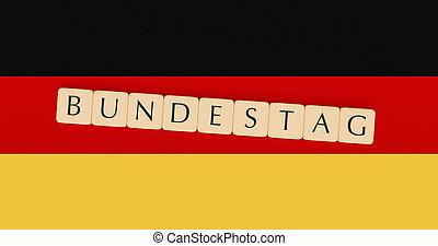 Letter Tiles Bundestag On German Flag, 3d illustration
