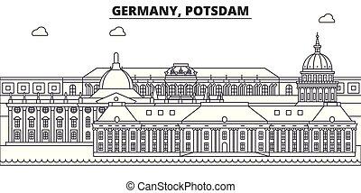 Germany, Postdam line skyline vector illustration. Germany, Postdam linear cityscape with famous landmarks, city sights, vector landscape.