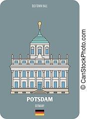 germany., pueblo viejo, arquitectónico, europeo, vestíbulo, ciudades, potsdam, símbolos