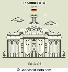 germany., punto di riferimento, ludwigskirche, icona, saarbrucken