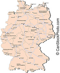 Vectorial map of Germany with provinces and of railway. No gradients and blends. Every province is separate curve. Names of provinces, cities and railwey are in separate layers.