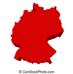 Germany Red 3d Europe Map Isolated