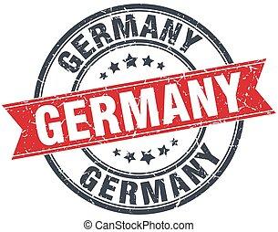Germany red round grunge vintage ribbon stamp