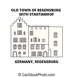 Germany, Regensburg, Old Town Stadtamhof line icon concept....
