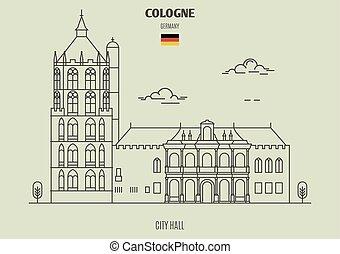 germany., repère, cologne, hôtel ville, icône