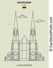 germany., repère, dusseldorf, maria, empfaengnis, icône, rue.