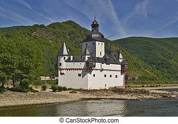 Germany, Rhine Valley - Kaub, Germany, small island in the...