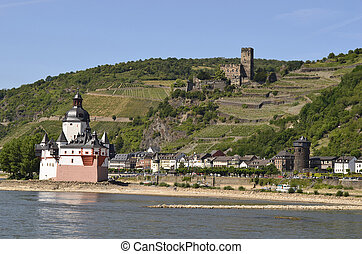 Germany, Rhine Valley - Germany, castle Pfalz and ruin...