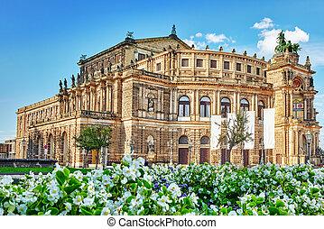 germany., sachsische, staatsoper, casa, ópera, sajonia, ...