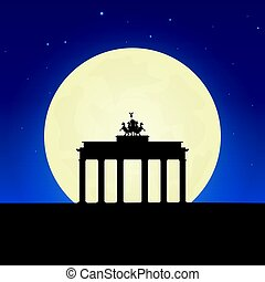 Germany silhouette of attraction. Travel banner with moon on the night background. Trip to country. Travelling illustration.