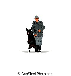 Germany soldier with dog sign. Vector Illustration. -...