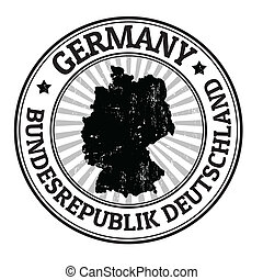 Germany stamp - Grunge rubber stamp with the name and map of...