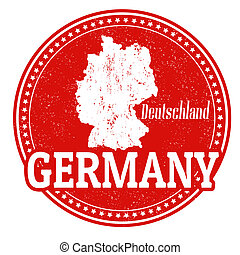 Vintage stamp with world Germany written inside and map of Germany, vector illustration