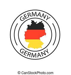 Germany stamp with map icon- vector illustration