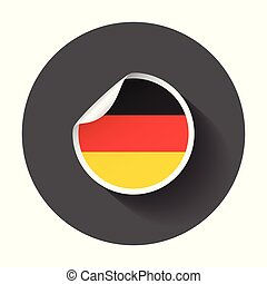 Germany sticker with flag. Vector illustration with long shadow.