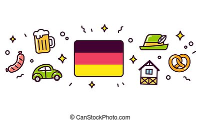 Germany symbols banner illustration