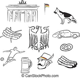 Germany symbols set hand drawn illustrations