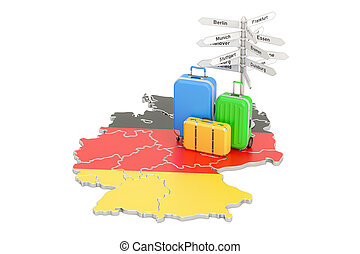 Germany travel concept. German flag on map with suitcases...