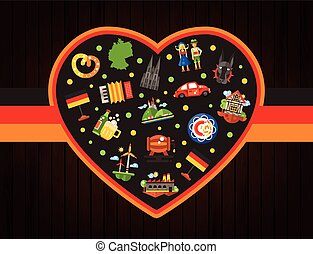 Germany travel heart postcard with famous German symbols
