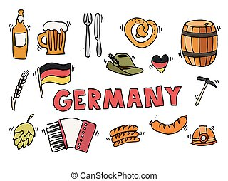 Germany travel set vector illustration