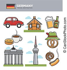 Germany travel tourism landmark symbols and tourist culture...
