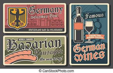 Bavarian sausages, German wines and coat of arms with black eagle. Traditional German cuisine food, drinks and famous places. Welcome to Germany and Bavaria, travel vintage cards
