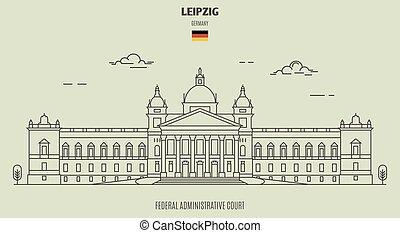 germany., tribunal, repère, fédéral, leipzig, icône, administratif