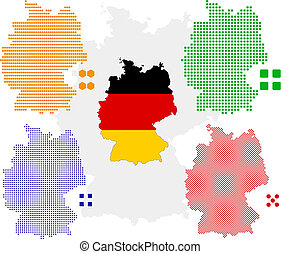 Germany - Flag,contour and pixel outline of Germany.