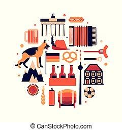 Germany, vector flat illustration, travel icon set, white background.