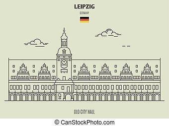 germany., vieux, repère, hôtel ville, leipzig, icône